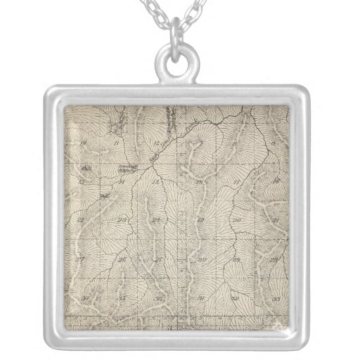 T1415S R3031E Tulare County Section Map Square Pendant Necklace