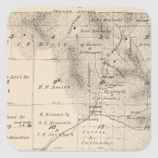 T15S R25E Tulare County Section Map Square Sticker