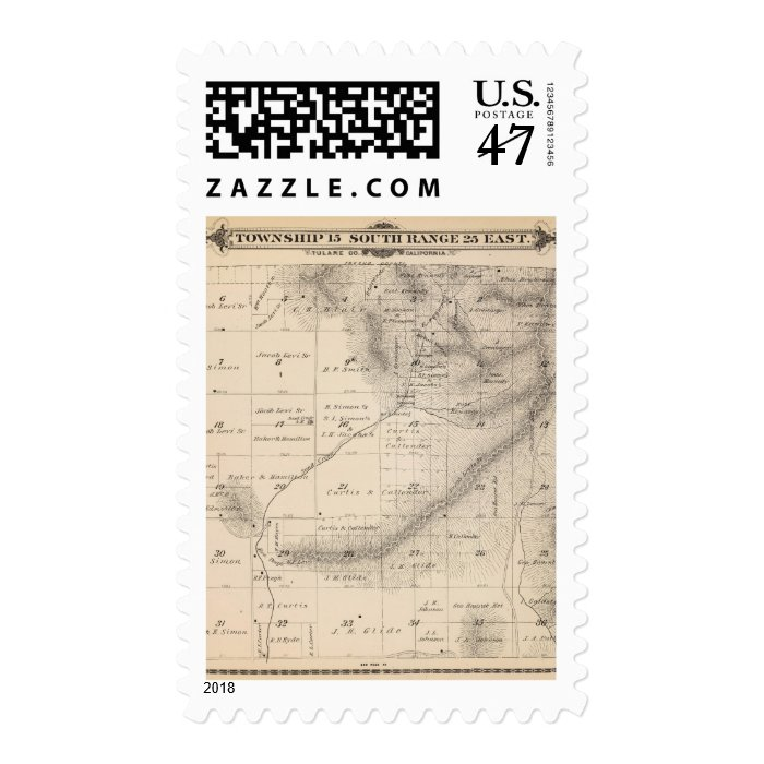T15S R25E Tulare County Section Map Stamp