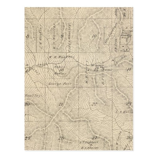 T15S R27E Tulare County Section Map Postcard