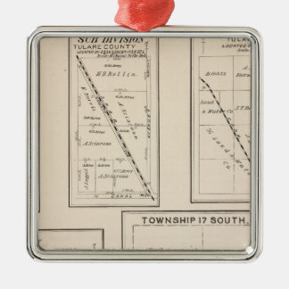 T17S R21E Tulare County Section Map Metal Ornament