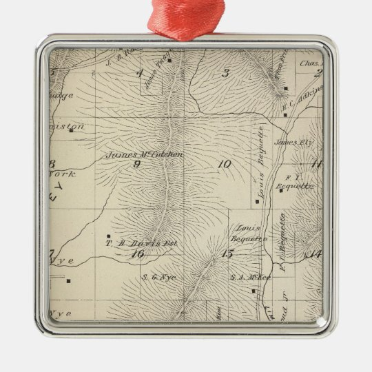 T17S R27E Tulare County Section Map Metal Ornament