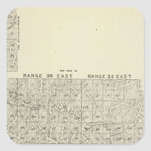 T1820S R3236E Tulare County Section Map Square Sticker