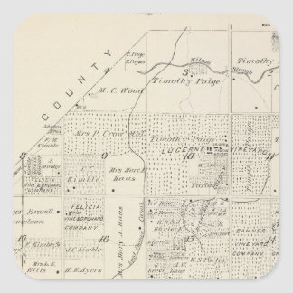 T18S R21E Tulare County Section Map Square Sticker