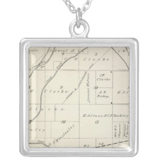 T18S R23E Tulare County Section Map Silver Plated Necklace