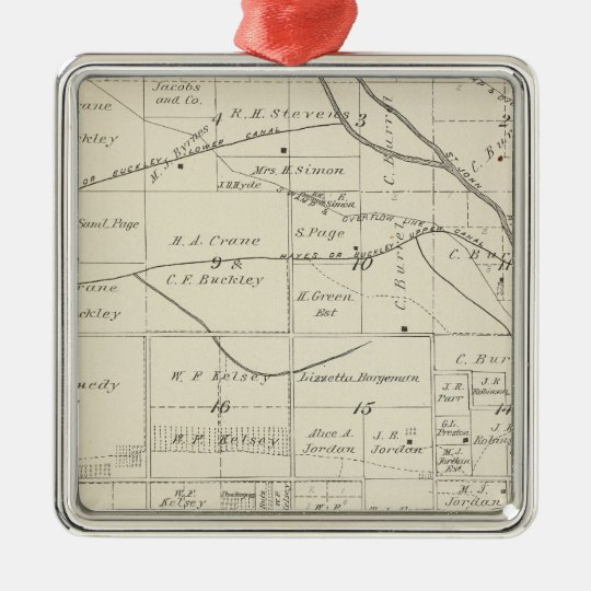 T18S R24E Tulare County Section Map Metal Ornament