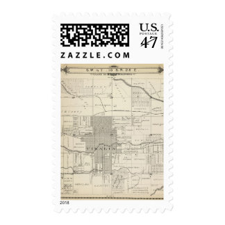 T18S R25E SW 1/4 Tulare County Section Map Postage