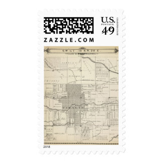 T18S R25E SW 1/4 Tulare County Section Map Postage Stamps