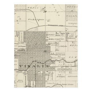 T18S R25E SW 1/4 Tulare County Section Map Postcard