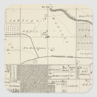 T18S R25E SW 1/4 Tulare County Section Map Square Sticker