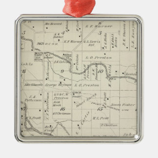 T18S R25E Tulare County Section Map Square Metal Christmas Ornament