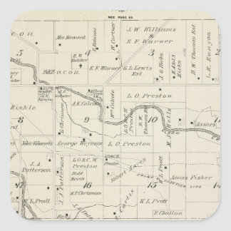 T18S R25E Tulare County Section Map Square Sticker