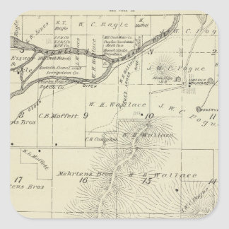 T18S R27E Tulare County Section Map Square Sticker