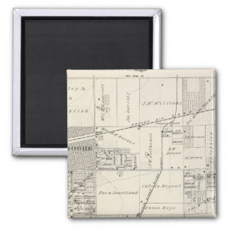 T19S R20E NE 1/4 Tulare County Section Map 2 Inch Square Magnet
