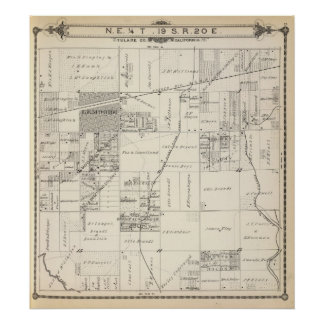 T19S R20E NE 1/4 Tulare County Section Map Poster