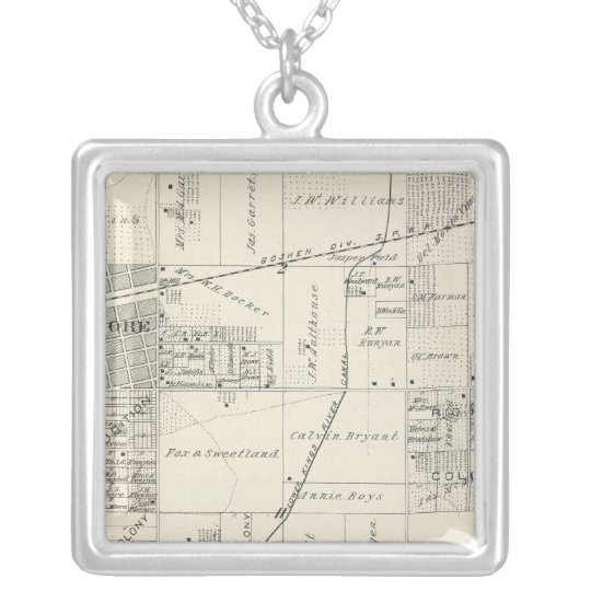 T19S R20E NE 1/4 Tulare County Section Map Silver Plated Necklace