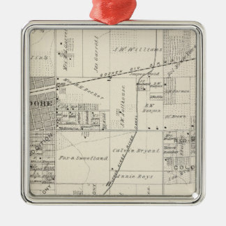 T19S R20E NE 1/4 Tulare County Section Map Square Metal Christmas Ornament