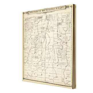 T19S R21E Tulare County Section Map Stretched Canvas Prints