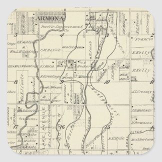 T19S R21E Tulare County Section Map Square Sticker