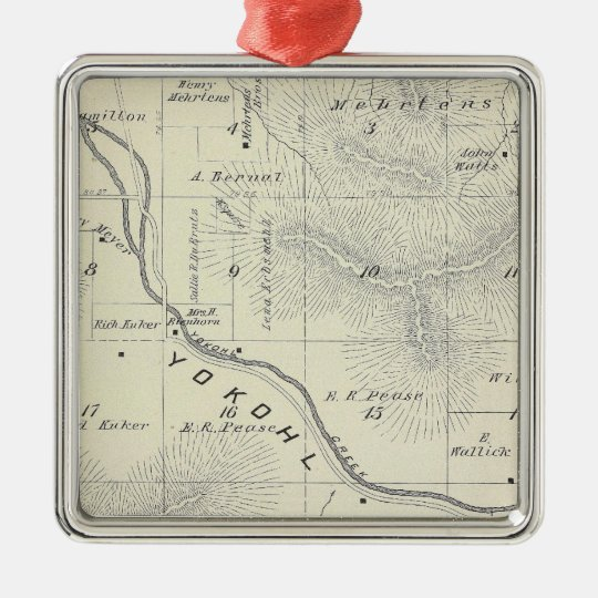 T19S R27E Tulare County Section Map Metal Ornament