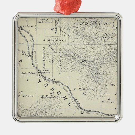 T19S R27E Tulare County Section Map Square Metal Christmas Ornament