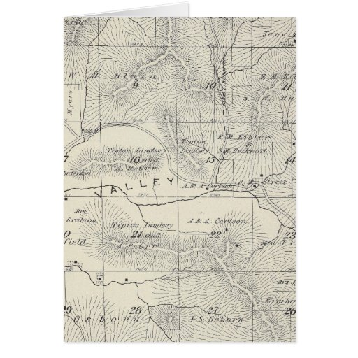 T19S R28E Tulare County Section Map Greeting Card
