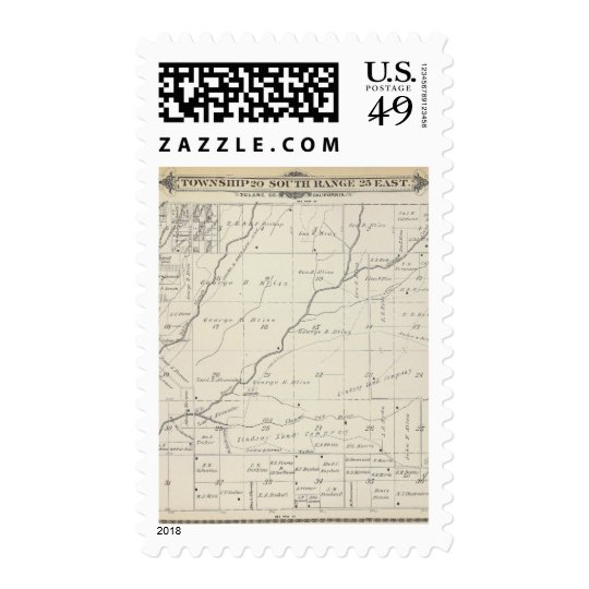 T20S R25E Tulare County Section Map Postage