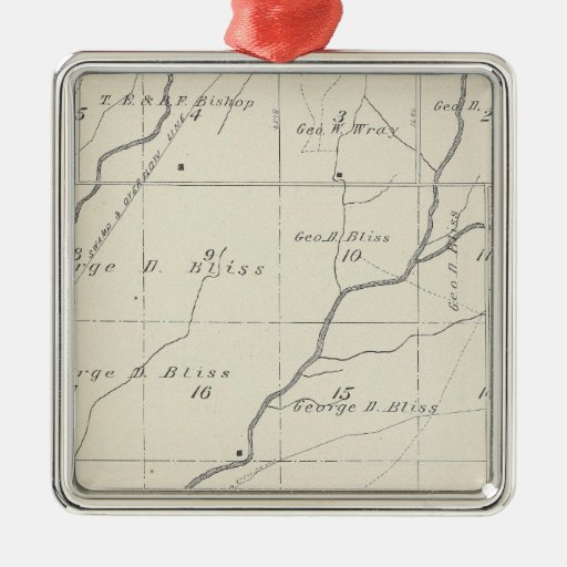 T20S R25E Tulare County Section Map Square Metal Christmas Ornament