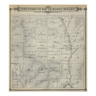 T20S R29E Tulare County Section Map Poster