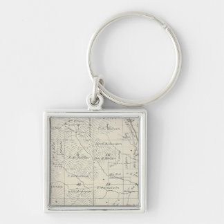T20S R29E Tulare County Section Map Silver-Colored Square Keychain