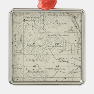 T20S R29E Tulare County Section Map Square Metal Christmas Ornament