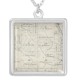 T20S R29E Tulare County Section Map Square Pendant Necklace