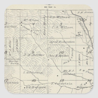 T20S R29E Tulare County Section Map Square Sticker