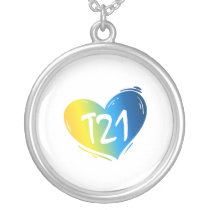 T21 Down Syndrome Awareness Silver Plated Necklace