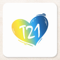 T21 Down Syndrome Awareness Square Paper Coaster