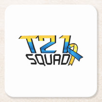 T21 Squad Down Syndrome Awareness Square Paper Coaster