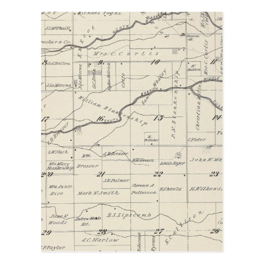 T21S R25E Tulare County Section Map Postcard