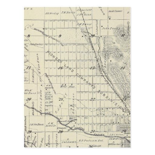 T21S R27E Tulare County Section Map Postcard
