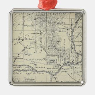 T21S R29E Tulare County Section Map Square Metal Christmas Ornament