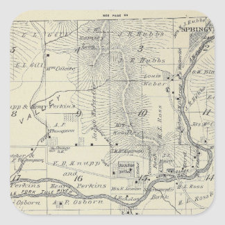 T21S R29E Tulare County Section Map Square Sticker