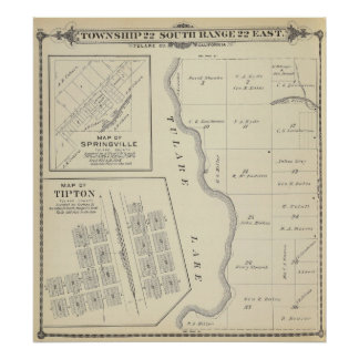 T22S R22E Tulare County Section Map Poster
