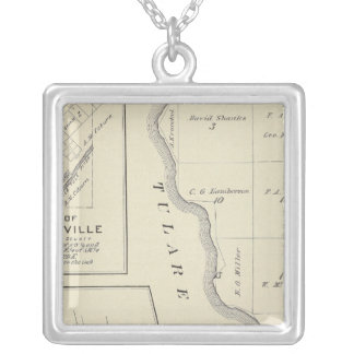 T22S R22E Tulare County Section Map Silver Plated Necklace