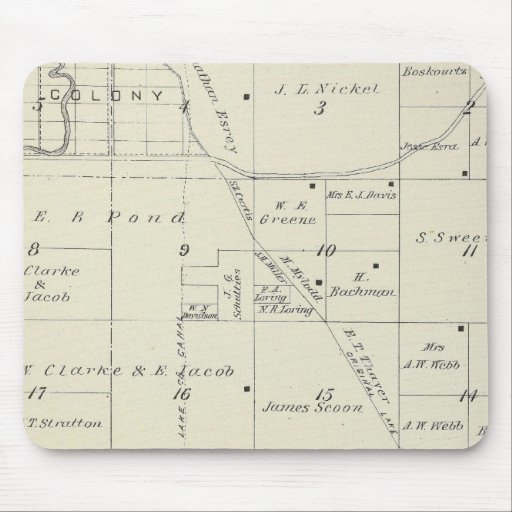 T22S R23E Tulare County Section Map Mousepad