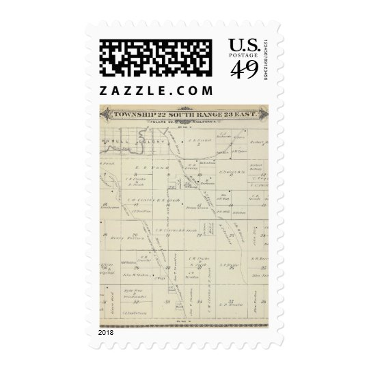 T22S R23E Tulare County Section Map Postage