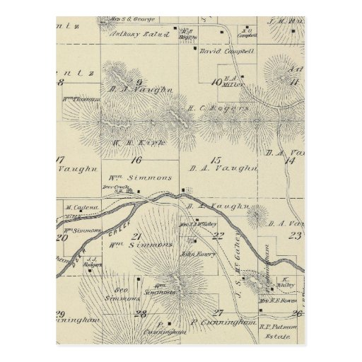 T22S R28E Tulare County Section Map Postcard
