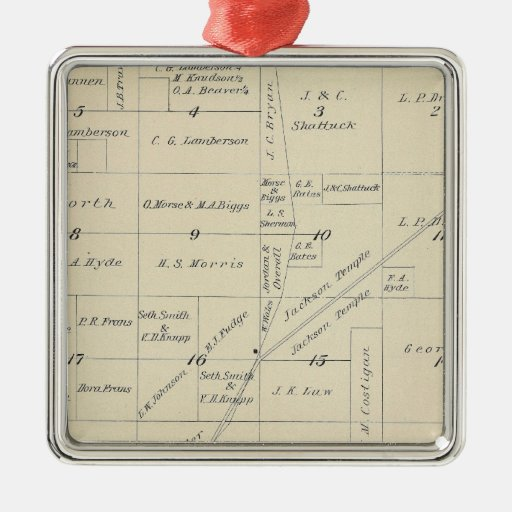 T23S R23E Tulare County Section Map Christmas Ornaments