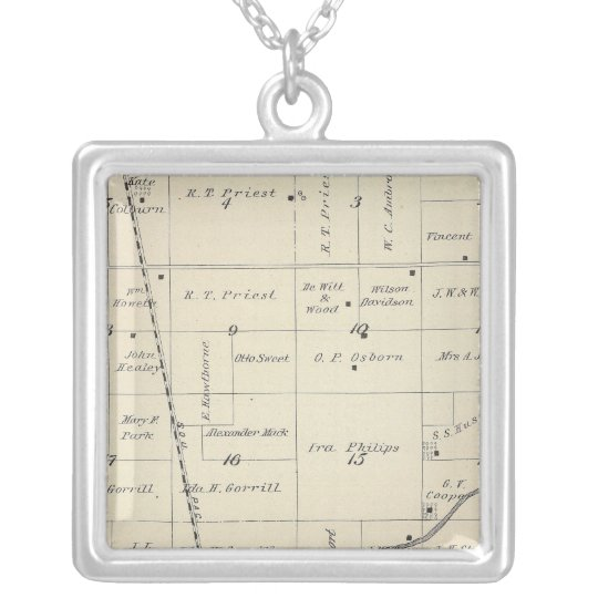 T23S R25E Tulare County Section Map Silver Plated Necklace