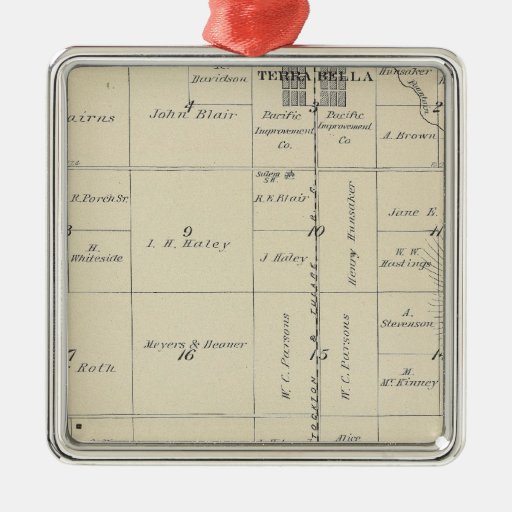 T23S R27E Tulare County Section Map Metal Ornament