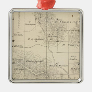 T23S R28E Tulare County Section Map Square Metal Christmas Ornament