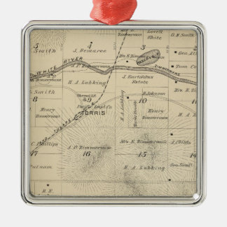 T24S R27E Tulare County Section Map Square Metal Christmas Ornament
